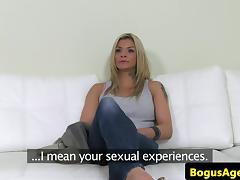 Casting amateur titfucked until cumontits