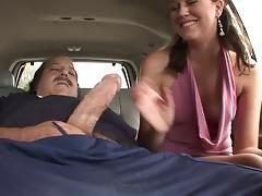 Old stud gets his huge tick cock blown by cute brunette