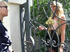 Fabulous blonde lesbians vibrating their g-spot outdoors
