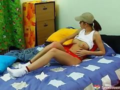 Dark-haired teen whore with big tits enjoying a hardcore vibrator fuck
