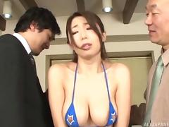 The court orders this Asian slut to get fucked by multiple men