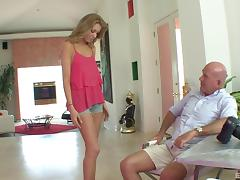 Compelling blonde spreads her legs for the bald lover's dick