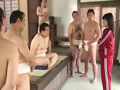 Slut in the sauna gangbanged by a group of Japanese men