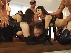 Kinky Asian group sex party with everyone in leather