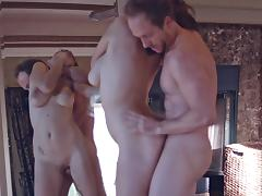 Hot milf deep throats a giant pecker ahead of a rough doggy pounding in a reality shoot