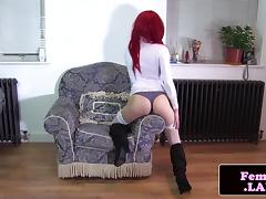 Amateur redhead femboy jerking cock