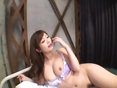 Hottie keeps her bra on while a dick fucks her Japanese cunt