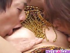 Saki Ogasawara sucks tool while riding another with hairy cooter