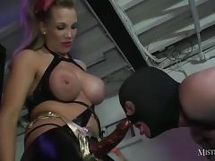 Hot busty Femdoms spit roast ass and mouth with big strapons