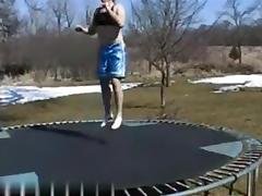 Outside sex on trampoline