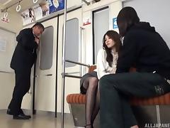 Fishnets slut on the subway takes a huge load on her face