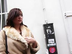 Fur trimmed coat cutie gives a public BJ and fucks her man
