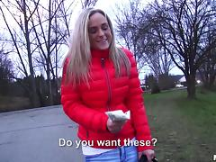 Adorable European blonde hottie fucked by a stranger