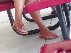 Candid Ebony Feet in Cafeteria 1