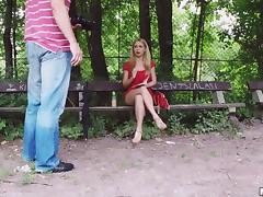 Perfect red lipstick on this girl sucking dick in the park