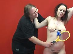 Amateur slave Beauvoirs extreme tit torture and electro BDSM