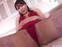 Divine Asian beauty rides the kinky dildo and sucks the stiff dick