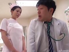 Flamboyant nurse from Japan is ready to ride the patient's stiff cock
