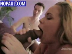 Sexy blonde sucks on massive black dick