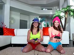 Nerdy bisexual gamer girls have a threesome with a big dick dude