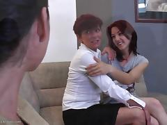 Real lust in a lesbian threesome with hot ass eating