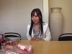 Japanese slut offers blowjobs to guys at a porn video store
