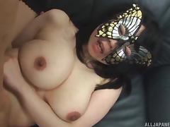 Masked curvy Japanese girl pleasures his cock erotically
