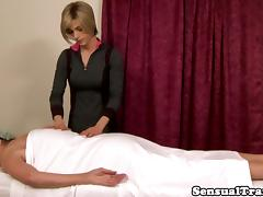 Tgirl Nina Lawless pussyfucks massage client