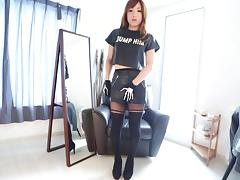Leather skirt is smoking hot on a solo Japanese tranny
