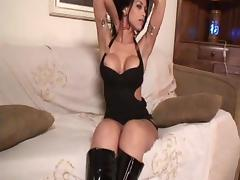 Busty Brunette In Leather Boots Mutual Ass Splitting
