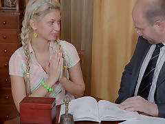TrickyOldTeacher - Hot blonde student sucks cock of teacher and later is fucked by him