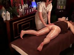 At the spa she gets an oily massage and some hot lesbian sex