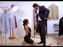 His sexy tailor sucks his cock and lets him fuck her while she works