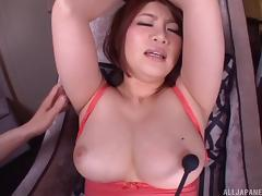 Vibrators arouse the big breasted and thick ass Asian babe