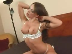 Vanessa enjoys impaling her pussy on the stiff cum gun