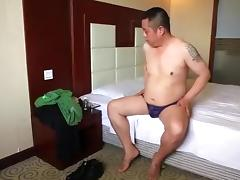 Oriental Dad Bear shows off hot body and cums like fountain