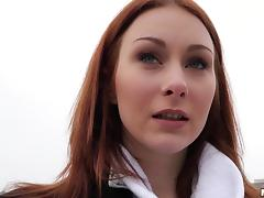 Russian redhead slut picked up by a stranger and mouth fucked