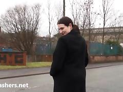 Fat amateur exhibitionist Alyss public nude and outdoor flashing of brunette bbw girlie showing big boobs and giant ass