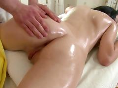 Teen on his massage table gets a hot rubdown and hardcore fuck