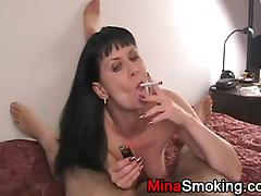 Housewife Smoking a cigarette during blowjob for husband