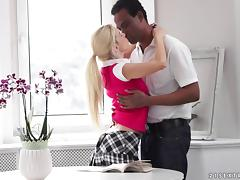 Deep and sensual interracial fucking with a skinny white girl