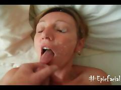 Amateur Happily Showered With Cum