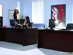 Female boss fucks her new secretary with a strapon