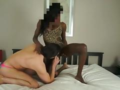 Huge cock black shemale fucks white guy