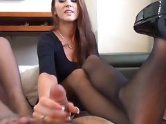 Pantyhose, Double, Footjob, Pantyhose, POV