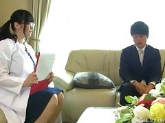 Naked chubby Japanese nerd gives a marvelous titjob