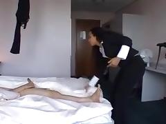 Dutch ebony sucks a cock in hotelroom