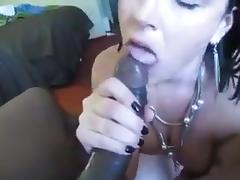 Stephanie sucks another chocolate cock