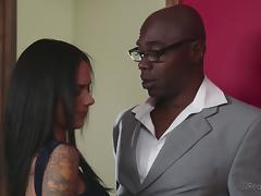 Cuckoldress satisfied by a huge black cock as hubby watches