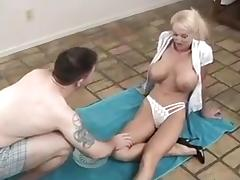 Huge tits blonde milf has pussy shaved before hot sex